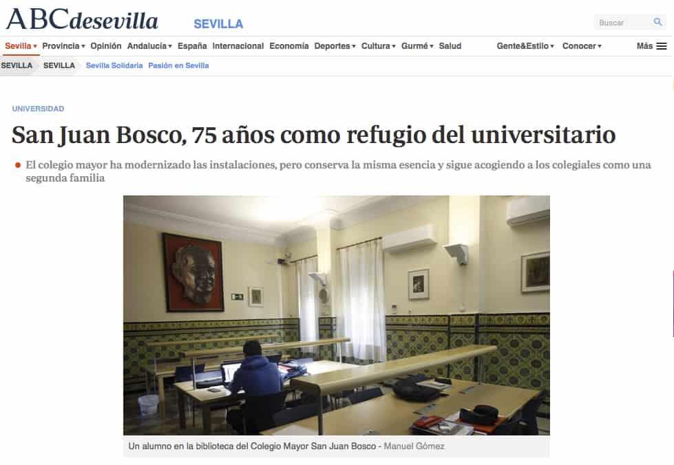 """[ABC.es] """"San Juan Bosco, 75 años como refugio del universitario"""""""